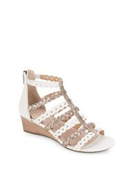 Rockport Braided Leather Wedge Sandals White