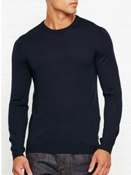 Reiss Hart Merino Crew Neck Jumper Navy