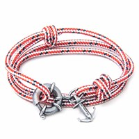 Anchor And Crew Red Dash Clyde Rope Silver Bracelet