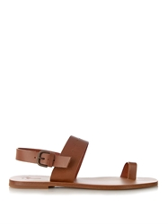 Tomas Maier Palm Tree Embossed Leather Sandals
