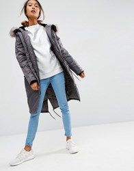 Asos Luxe Parka With Ma1 Detail Mid Grey