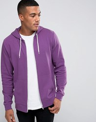 Asos Zip Up Hoodie In Purple Mangosteen
