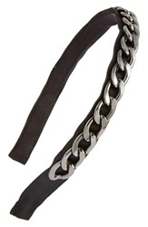 Natasha Couture 'Foxie Broxie' Chain Embellished Headband Grey Hematite