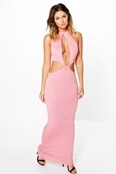 Boohoo Cut Out Detail Maxi Dress Peach