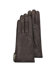 Forzieri Women's Brown Calf Leather Gloves W Silk Lining