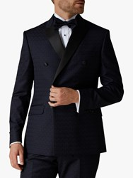 Jaeger Checkerboard Double Breasted Slim Fit Suit Jacket Navy