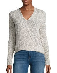 Design Lab Lord And Taylor Surplice Knit Sweater Boucle Grey