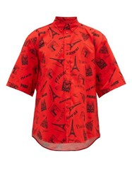 Balenciaga Monument Print Cotton Short Sleeve Shirt Red