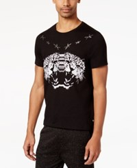 Guess Men's Star Embroidered Leopard T Shirt Jet Black