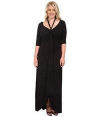 Kiyonna Divine Draped Maxi Dress Black Noir Women's Dress