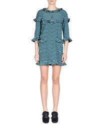 Fendi Wavy Striped Dress W Ruffle Trim Turquoise Green Turq And Green