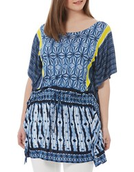 Harper Liv Plus Abstract Printed Drawstring Tunic Blue