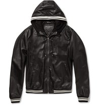 Dolce And Gabbana Jersey Trimmed Hooded Leather Jacket Black