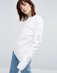 Vans Crew Neck Sweatshirt With Holographic Checkerboard Sleeve White