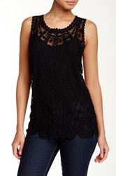 Laundry By Shelli Segal Geo Embroidered Mesh Tank Black