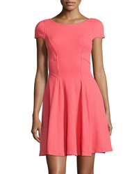 Yoana Baraschi Memphis Textured Cap Sleeve Dress Sunset Coral