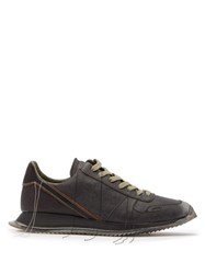 Rick Owens Distressed Stitch Low Top Leather Trainers Black Multi