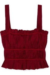 Brock Collection Frayed Ruched Crepe Bustier Top Red