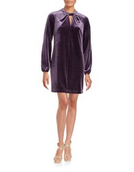 Cynthia Steffe Taylor Twistneck Long Sleeved Velvet Dress Aubergine