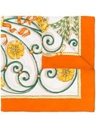 Hermes Vintage Floral Scarf Yellow And Orange
