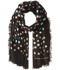 Marc Jacobs Pastel Dot Large Stole Black Multi Scarves