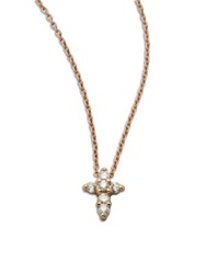 Roberto Coin Tiny Treasures Diamond And 18K Rose Gold Mini Cross Pendant Necklace