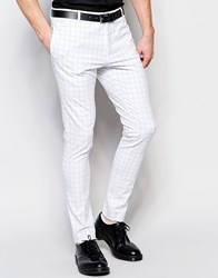 Religion Super Skinny Smart Pants In Contrast Grid Check With Stretch White