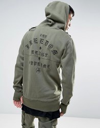 Cayler And Sons Longline Hoodie With Back Embroidery Khaki Green