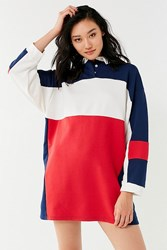 Urban Outfitters Uo Colorblock Rugby T Shirt Dress Blue Multi