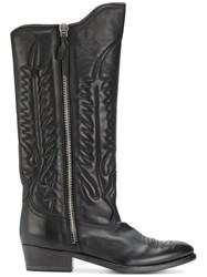 Golden Goose Deluxe Brand Pointed Toe Cowboy Boots Women Leather 37 Black