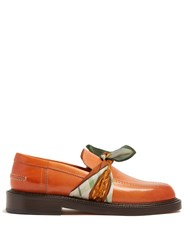 Maison Martin Margiela Front Tie Leather Loafers Tan Multi