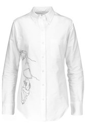 Thom Browne Embroidered Cotton Shirt White