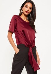 Missguided Purple Satin Tie Hem T Shirt Plum