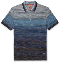 Missoni Slim Fit Space Dyed Cotton Polo Shirt Blue