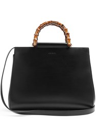 Gucci Nymphea Bamboo Handle Medium Leather Tote Black