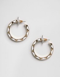House Of Harlow Engraved Hoop Earrings Gold White