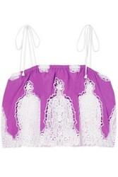Miguelina Woman Lyla Cropped Crocheted Cotton Voile Top Purple