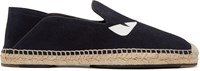 Fendi Navy Suede Slip On Espadrilles