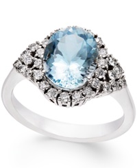 Macy's Aquamarine 2 1 2 Ct. T.W. And Diamond 3 8 Ct. T.W. Ring In 14K White Gold