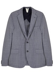 Oscar Jacobson Emil Checked Wool Jacket Blue