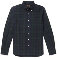 Beams Plus Button Down Collar Checked Cotton And Linen Blend Flannel Shirt Black