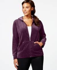 Style And Co. Sport Plus Size Studded Sleeve Active Jacket Only At Macy's Merlot Velour