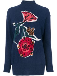 Paul Smith Flower And Squirrel Detail Sweater Wool L Blue