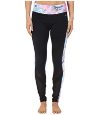 Pink Lotus Cardio Crush Warrior Spliced Printed Peformance Leggings W Mesh Insets Black Women's Casual Pants