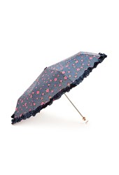 Forever 21 Rose And Dot Ruffled Travel Umbrella
