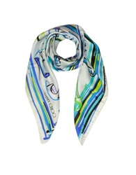 Jimmy Choo Petrol Mix Shoes Printed Twill Silk Square Scarf Light Gray