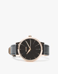 Nixon Kensington Leather In Rose Gold Black Rose Gold Black