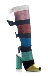 Marco De Vincenzo Striped Boot Black Pink Red