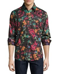 Robert Graham Sansone Floral Print Long Sleeve Sport Shirt Black