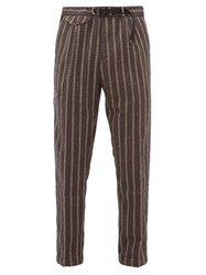 White Sand Striped Cotton Blend Seersucker Trousers Brown Multi